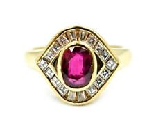 0.75 Carat Ruby and Diamond Ring 18k Yellow Gold