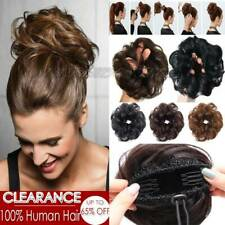 Clip in 100 Human Hair Extensions Messy Bun Ponytail Hair Piece Scrunchie Blonde