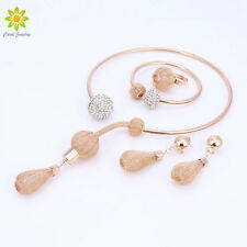 Gold Plated Jewelry Sets For Women African Pendant Necklace Earrings Bracelet