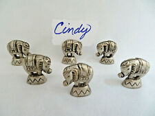 6 Piece Silver Pewter Tone Metal Elephant Place Card Holders