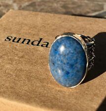 New Sundance Jes MaHarry Touchstone Ring 6 Silver Denim Lapis $690 super wide E