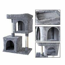 New listing 33'' Cat Tree Tower Condo Activity House Sisal Posts for Large Cat Drak Grey