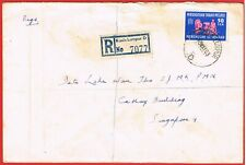1963 large reg. cover franked Malaya 50s FFH tied Kuala Lumpur to Singapore