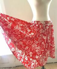 Vintage 60s Red & White Floral Circle Skirt Cotton Or Blend 29-30� Waist