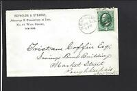 NEW YORK,NEW YORK 3CT BANKNOTE,ADVT ATTORNEY, COVER TO POUGHKEEPSIE NEW YORK.