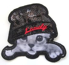 Kitten With Sequin Hat Iron On Patch- Cat Animal Novelty Badge Applique Crafts