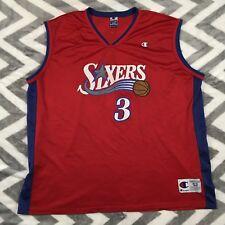 Vintage Rare Champion NBA Philadelphia Sixers 76ERS Jersey Allen Iverson 3 2XL