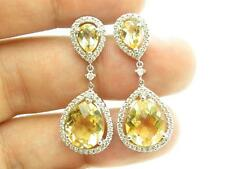 14k White Gold Diamonds Golden Citrine Halo Design Pear Cut Chandelier Earrings