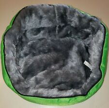 New green furry gray lined Puppy Dog Kitty Cat Bed great for cuddle and warmth!