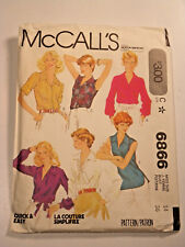 Mc-6866 Blouses Sewing Pattern McCall's Size 14 Partially Cut, Complete