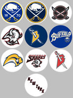 Buffalo Sabers Set of 10 Buttons or Magnets Set 1.25 inch