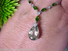 $1,267 GLITZ N GLAM! 10K SPARKLING MINT GREEN AMETHYST DIOPSIDE DIA NECKLACE