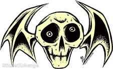 2002 Alan Forbes Skateboard Sticker 6 Inch Three Eyed Black Cat Crown Skull
