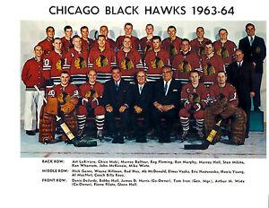 1963 1964 CHICAGO BLACK HAWKS 8X10 TEAM PHOTO HOCKEY NHL HOF ILLINOIS PUCK