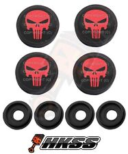 4 Black Custom License Plate Frame Tag Screw Cap Covers - PUNISHER SKULL JMS