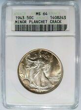 1943 Walking Liberty Silver Half Dollar ANACS MS 64 Planchet Crack Mint Error