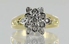 Hallmarked 18ct Yellow and White Gold Diamond Cluster Flower Ring