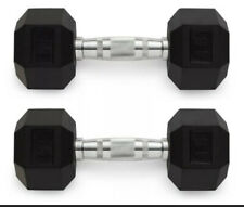 Weider Hex Rubber 15 lb Pound Set of Two Dumbbell Weights 30 Lb -