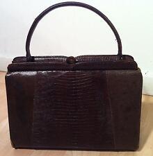 VINTAGE 1940's Brown LIZARD Handbag Tote Purse Evening Bag