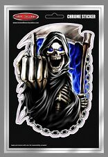Reaper Chains Car Sticker - Finger - Skull - Angry - Blue Flames - Tattoo Art -