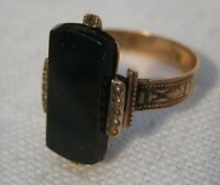 Victorian ROSE GOLD Ring w/ BLACK BANDED AGATE & SEED PEARLS Crosslet 4 Mark S10