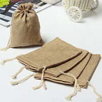 Natural Burlap Linen Jute Vintage Wedding Drawstring Gift Favor Sack Bags lotVV