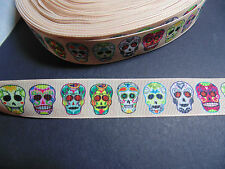 Sugar Skull Grosgrain Ribbon 2.2cm  x 1 Metre  Sewing/Costume/Crafts/Cake
