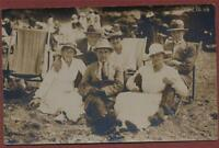 Men Women deckchairs hats   vintage photograph  postcard    qc.287