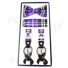 New in box Men's Suspender Braces Bowtie Hankie Set Elastic Strap plaid Purple