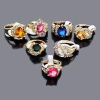 5Stk Damen Mischung Farbe Großhandel Ring Gemischt Strass Kristall Ringe Gold