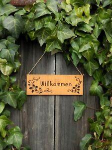 Schild Willkommen Rostschild Türschild Türdeko Wanddeko Edelrost Deko Garten