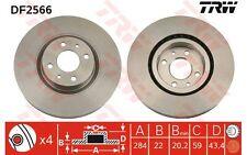 TRW Juego de 2 discos freno Antes 284mm ventilado FIAT STILO ALFA ROMEO DF2566