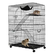 Lockable 2Tiers Cat Playpen Kitten Wheels Wide Home Room Handle Play Safety Cage