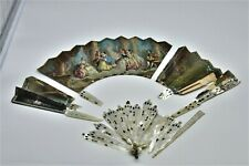 Antique Mother of Pearl Silver Hand Fan Hand-Painted Austrian