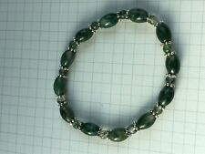 Stretch Beaded Bracelet Moss Agate Tibetan Silver Spacer SoulImprove Selfesteem