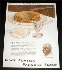 1919 OLD MAGAZINE PRINT AD, AUNT JEMIMA PANCAKE FLOUR, SO LIGHT AND FLUFFY, ART!