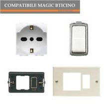 PRESA SCHUKO M5440/16+INTERRUTTORE 5011+TELAIO+PLACCA COMPATIBILE MAGIC BTICINO