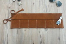 Roll up Case organiser 6 pouch bag Vintage Soft Genuine Cow Leather Brown Watch