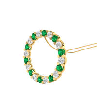 "2.00 Ct Green Emerald and Diamond Circle Pendant 18"" Necklace 14k Yellow Gold GP"