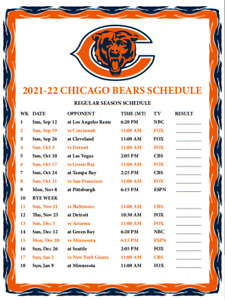 Chicago Bears Football - 2021/2022 Large METAL Magnet Schedule