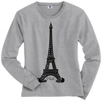 Threadrock Women's Eiffel Tower Paris France Long Sleeve T-shirt French Pride
