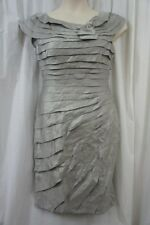 London Times Dress Sz 12 Steel Gray Tiered Evening Dinner Cocktail Party Dress