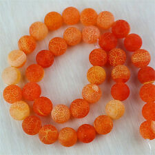 "Wholesale 1 Strand 10mm Orange Fire Dragon Veins Agate Loose Bead 15"" MZ10RL"