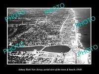 OLD HISTORIC PHOTO OF ASBURY PARK NEW JERSEY, AERIAL VIEW OF THE BEACH c1940 1