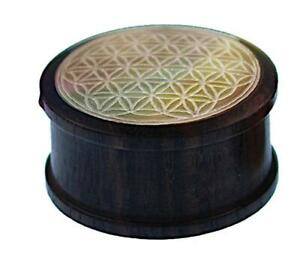 Wood Plug Pearl Inlay Engraving Flower of Life Hand Carved Tribal Tunnel Ex