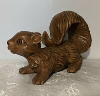 "Vintage Large 9"" Ceramic Wall Climbing Brown Squirrel Figurine - Forest Animal"