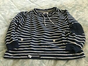 Lazy Jacks blue white striped fleece sweat jumper size large