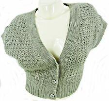 SOFT SAGE CAP SLEEVE CROPPED COTTON CARDIGAN, H&M SIZE EUR 32 / UK 8,  LT137