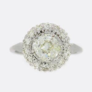1.20 Carat Old Cut Diamond Cluster Ring Platinum