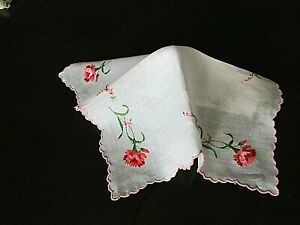 """Vintage 11"""" Swiss HANKY Beautifully Embroidered Pink/Red CARNATIONS/Buds"""